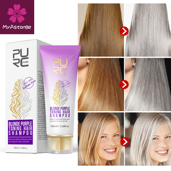 Blond fioletowe włosy szampon usuwa żółte i jasne odcienie dla srebrnego popiołu wyglądają fioletowe włosy szampon duża wyprzedaż tanie i dobre opinie Unisex CN (pochodzenie) 1pcs Sodium Laureth Sulfate 100 ml Odżywka Purple Hair Shampoo