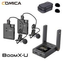 Comica boomx u BoomX U1 U2 microfono Wireless trasmissione Mic Mini UHF microfono trasmettitori Kit ricevitore per fotocamera del telefono