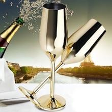 HHO-2Pcs/набор небьющиеся бокалы для шампанского из нержавеющей стали, матовые золотые свадебные тосты, бокалы для шампанского, вечерние стаканчики