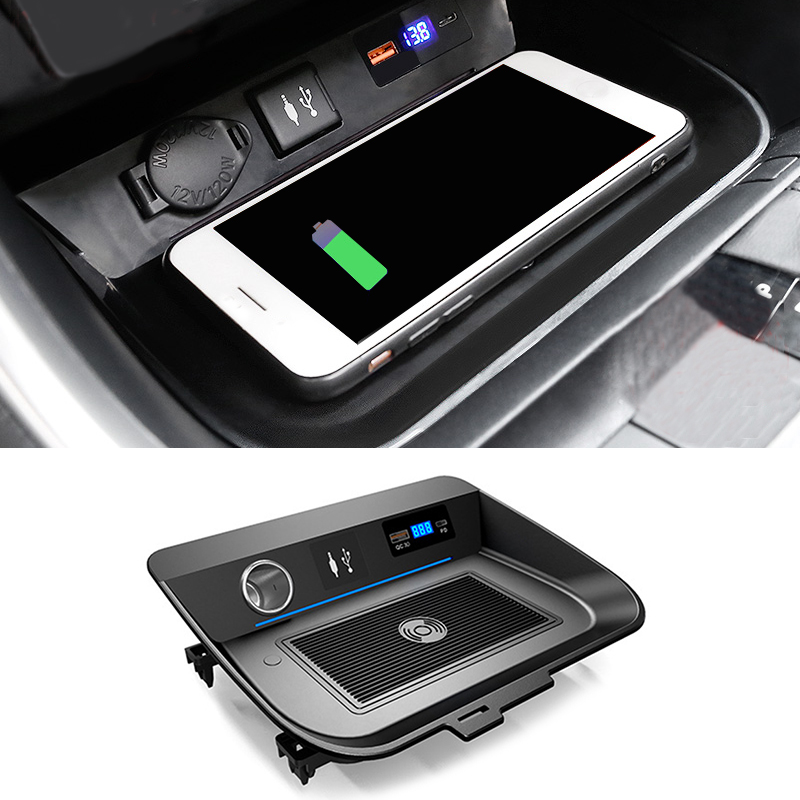 15W car wireless charger for Toyota RAV4 <font><b>RAV</b></font> <font><b>4</b></font> <font><b>2019</b></font> 2020 car accessories wireless QI phone charger charging holder for iPhone image