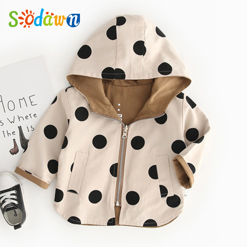 Baby Clothes For Girl Boy Coat Autumn Toddler Coat Hooded Windbreaker Jacket Polka Dot 2 Side Wear Children Outerwear Clothes image