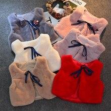 Меховой жилет для новорожденных девочек детский жилет куртка для девочек осенне-зимняя теплая одежда для малышей милый короткий жилет для девочек меховой жилет для принцессы