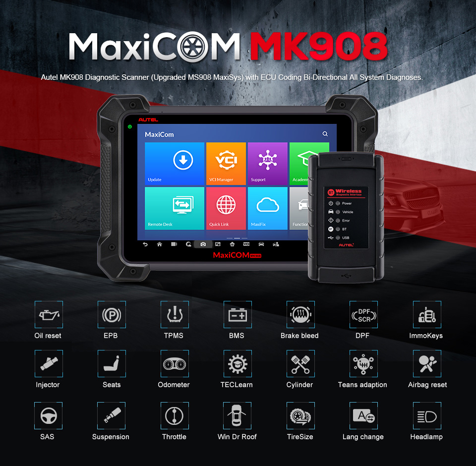 Autel MaxiCOM MK908 Auto Diagnostic Scanner Autel MK908 PK MK908P MaxiSys Elite MS908 ECU Programming with J2534 OBD 2 OBD2 Auto title=