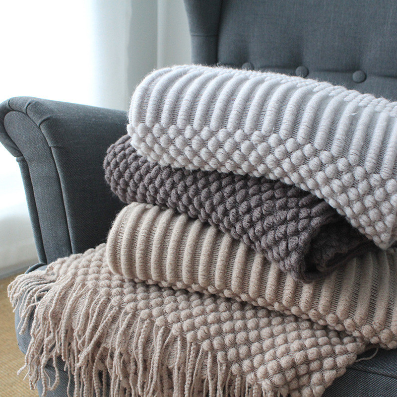 Plaids Bed Sofa Cover Throw Thread Blanket Knitted Bedspread Europe Solid Hubble-bubble Knit Blankets For Beds Travel TV Nap Car