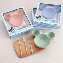 3pcs/set Kitchen Tableware Bowl Food Container Fruit Wheat Straw Bowl For Children Kids Salad Soup Rice Noodles Plate 5 6 8 inch japanese cherry blossom ceramic ramen bowl large instant noodle rice soup salad bowl container porcelain tableware