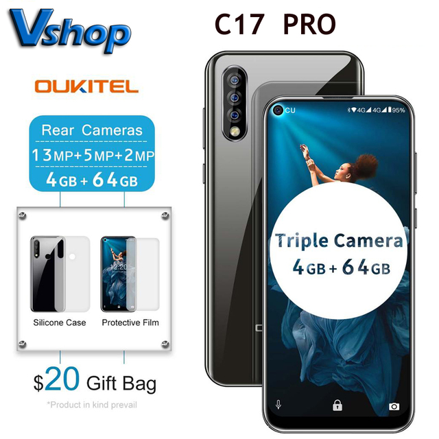 "Oryginalny OUKITEL C17 Pro 6.35 ""19:9 Android 9.0 telefon komórkowy MT6763 octa core 4G RAM 64G ROM odcisk palca 4G 3900mAh Smartphone"