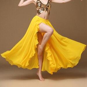 Image 3 - Falda larga de satén para mujer, falda Sexy Oriental para danza del vientre, profesional, 2019