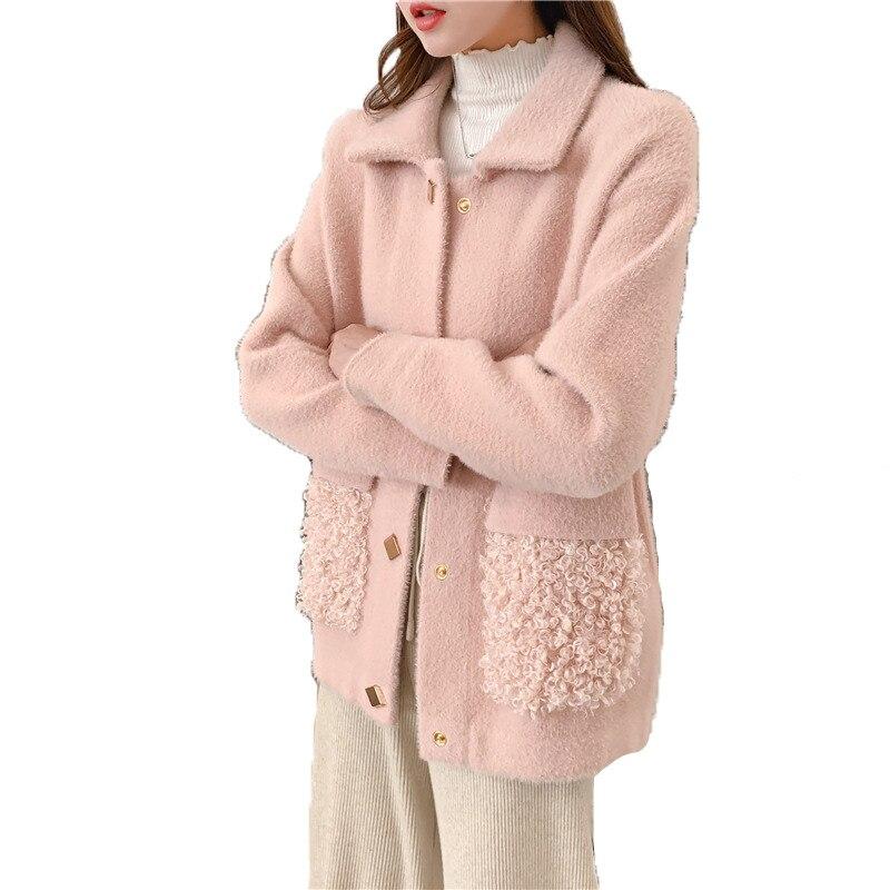 Automne hiver chandail tricoté femmes rose bleu beige haut ample Cardigan 19 nouveau manches longues revers mode plus épais chandail JD656
