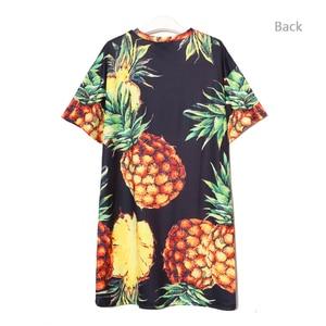 Image 4 - 2020 Stile coreano Donne di Estate Stampa Ananas Casual Vestito Dalla Spiaggia Più Il Formato Nero Rosa Vestito Estivo Carino Midi Dress abiti 2163