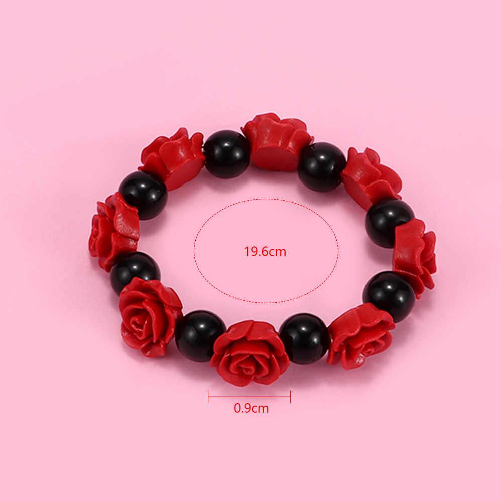 Red Rose ลูกปัดสีดำสร้อยข้อมือ Multicolor Luxury Cuff สร้อยข้อมือเจ้าสาวสร้อยข้อมือผู้หญิงเครื่องประดับของขวัญ