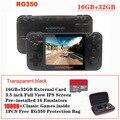 Rg350 retro console de jogo 3.5 polegada ips tela 32 gb 10000 + jogos ps1 64bit opendingux 18 emuladores handheld jogador de jogo