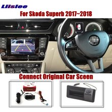 Liislee For Skoda Superb 2017~2018 Car Original Screen Upgrade Reverse Image Rear Camera Dynamic Trajectory Trunk Handle