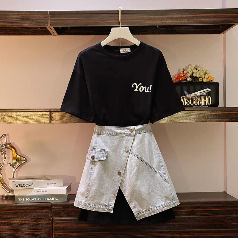 Długi T-shirt + Jean w połowie długości spódnica garnitur dla duży rozmiar kobiet zużycie tłuszczu siostra w lecie 2019 roku