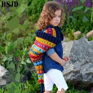 Image 5 - Kids Winter Hats Handmade Crochet Elf Beanie Hat Children Warm Knitted Rainbow False Collar Elf Hat Hooded Cap Boy Girl Xmas Cap