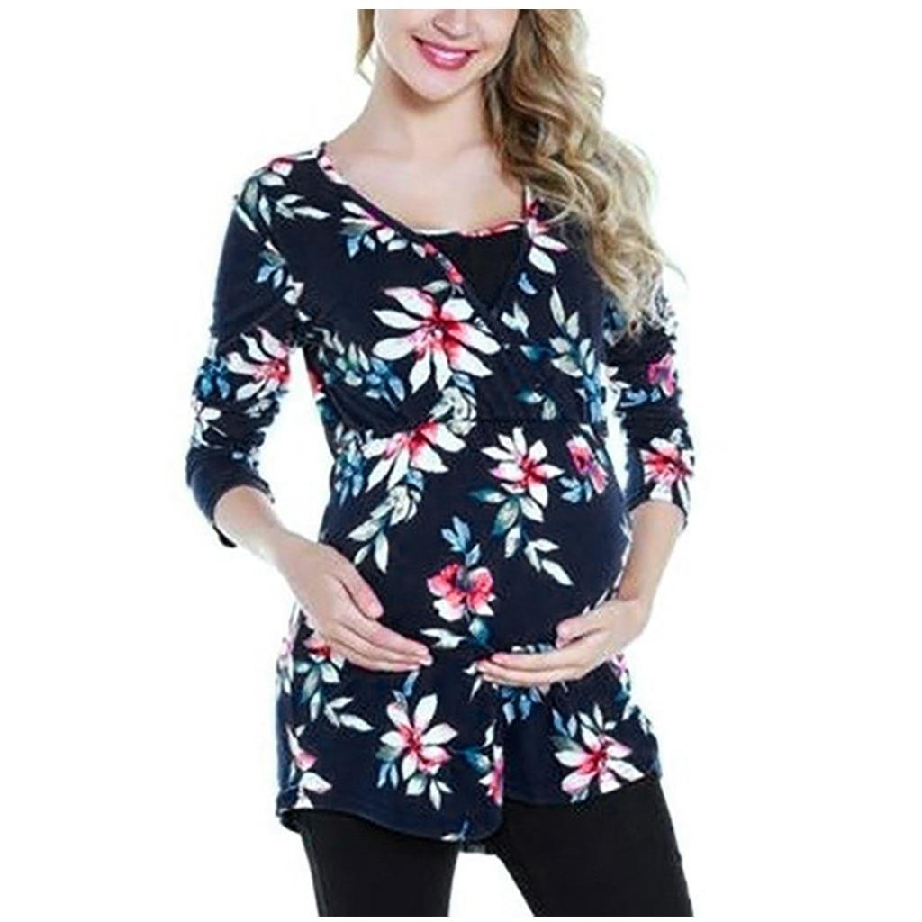 Топ для кормящих женщин Осень цветочный принт Грудное вскармливание Свободная Повседневная футболка без рукавов Топы для кормящих детей