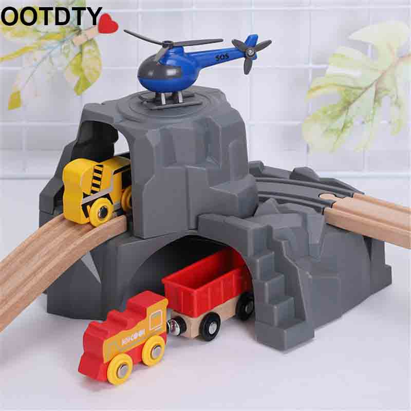 Plastic Grey Double Tunnel Wooden Train Track Accessories Tunnel Track Train Slot Wood Railway Toys Bloques De Construccion