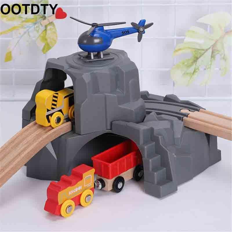 Plastique gris Double Tunnel en bois Train rail accessoires Tunnel voie Train fente bois chemin De fer jouets Bloques De Construccion