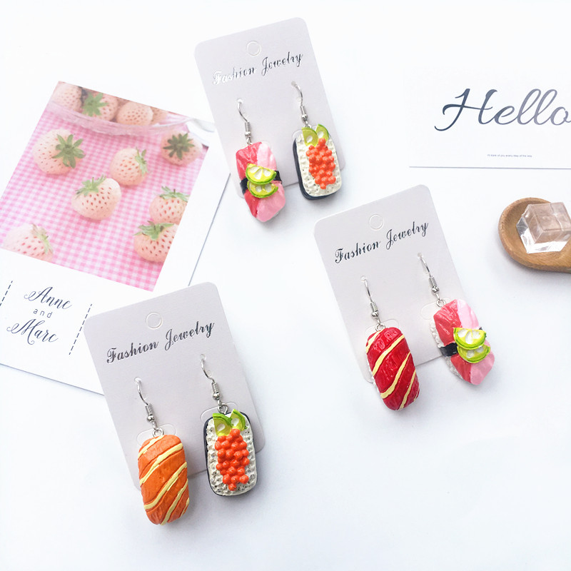 Resin Food Play Cute Harajuku Sushi Rice Drop Earrings DIY Cute Geometric Colorful Fun Earrings for Women Girl Jewelry