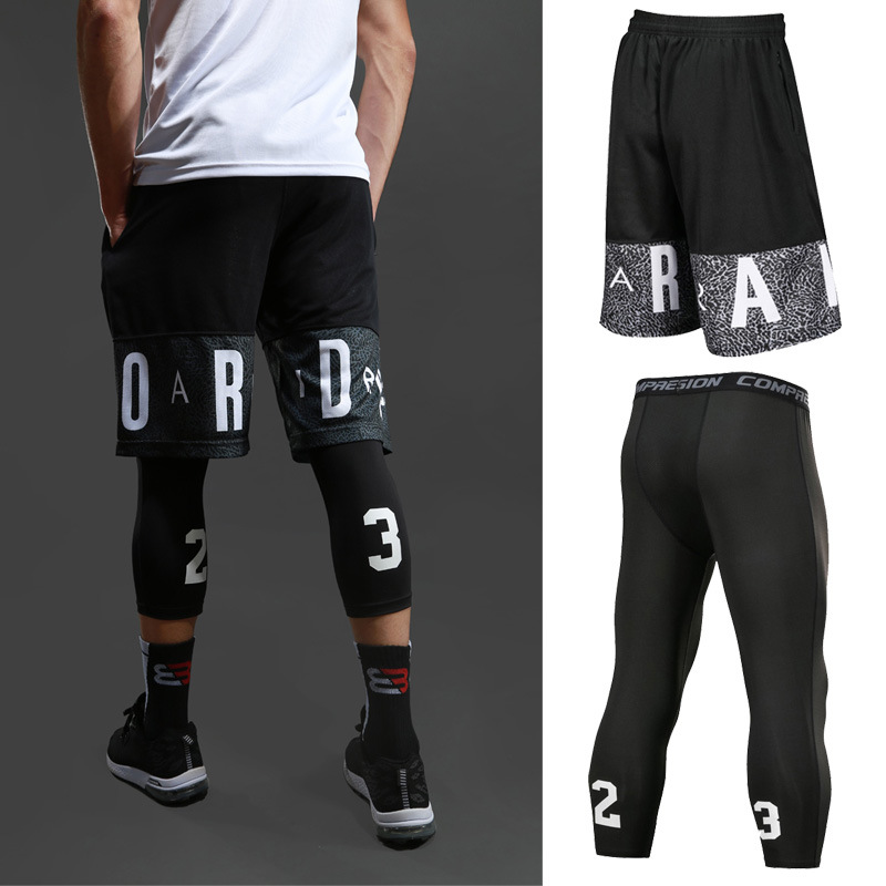 Basketball <font><b>Shorts</b></font> men <font><b>Jordan</b></font> <font><b>23</b></font> <font><b>Shorts</b></font> With Tight sweat pants Sports Gym QUICK-DRY Compression For Male Soccer Running Yoga image