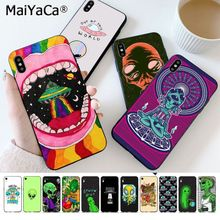 MaiYaCa Trippy Tie Dye Peace Alien Silicone Black Phone Case for