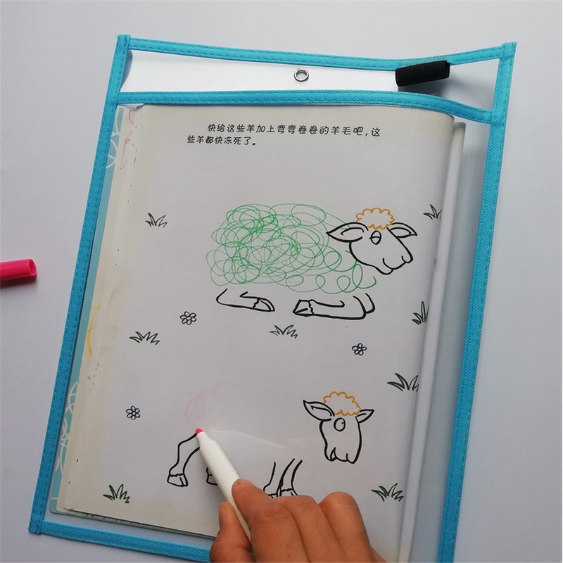 Can Be Reused Rewritable Folder PVC Transparent Dry Brush Bag A4 Water Based Pen Drawing Board Pocket Writing Wipe Learning Toys