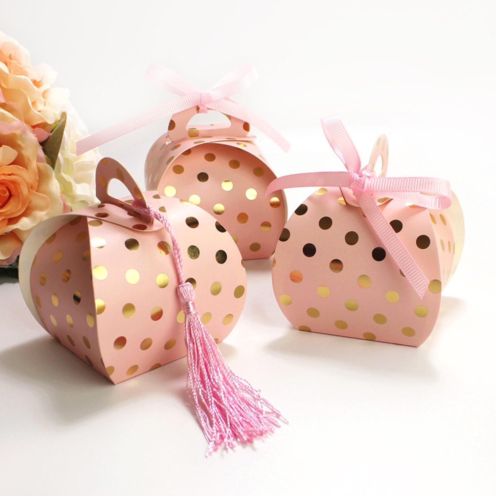 10pcs Kraft Paper Bronzing Dot Candy Box With Tassel Flamingo Chocolate Gift Box For Baby Shower Birthday Wedding Party Supply