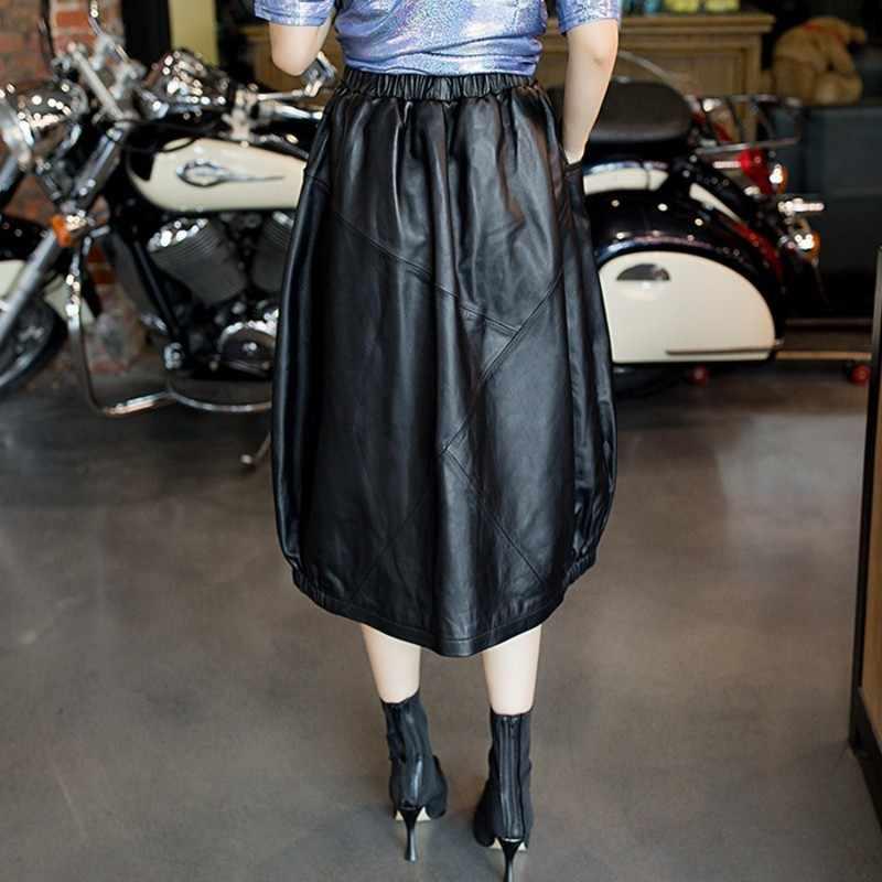 Gothic połowy łydki oryginalna spódnica z owczej skóry wiosna jesień luźna Plus rozmiar 4XL ulica elastyczna talia A-Line prawdziwe skórzane spódnice czarne