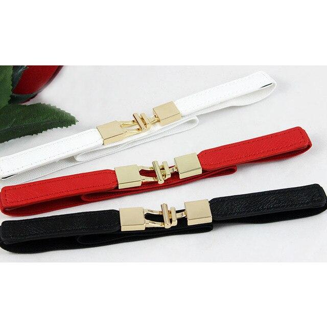 Markdown-bracelet en polyuréthane mince pour femmes | Ceinture en cuir, noir rouge blanc, ceinture en or, élastique, 65x1.5cm, pour femmes
