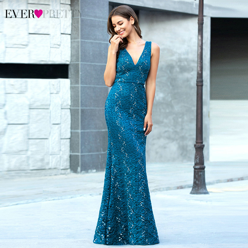 Sexy Teal Prom Dresses Ever Pretty Mermaid Deep V-Neck Sleeveless Elegant Embroidered Floral Lace Party Gowns Vestidos De Gala