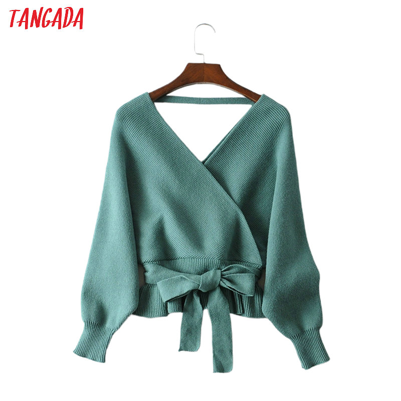 Tangada Women Sexy Backless Solid Jumper Sweater Korean Fashion Long Sleeve V Neck Pullovers Female Tops JA07