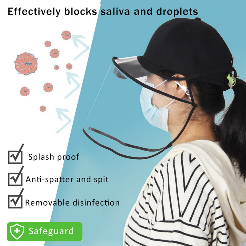 2 In 1 Removable Multi-function Protective Cap Anti-spitting/fog Children's Adult Protective Hat Mask Isolation Spittle Hot