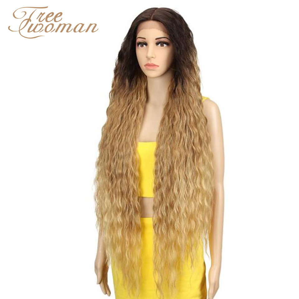 FREEWOMAN Curly Ombre Wigs For Black Women Synthetic Lace Front Wigs Kanekalon Cosplay Wigs Fake Hair Extension Blonde Brown