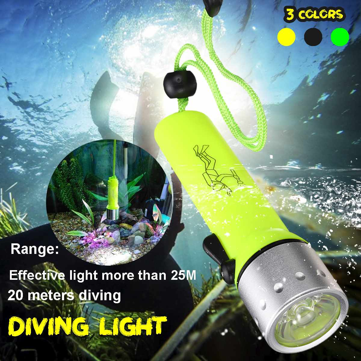 Professional LED Torch Diving Flashlight Underwater Scuba Lamp With Aluminum Alloy Light Head Flash Light Torch