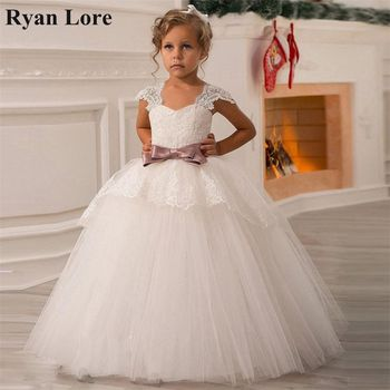 2020 Ball Gown Flower Girl Dresses Princess Dress For Weddings First Communion Dress Special Occasion Pageant Dress With Bow
