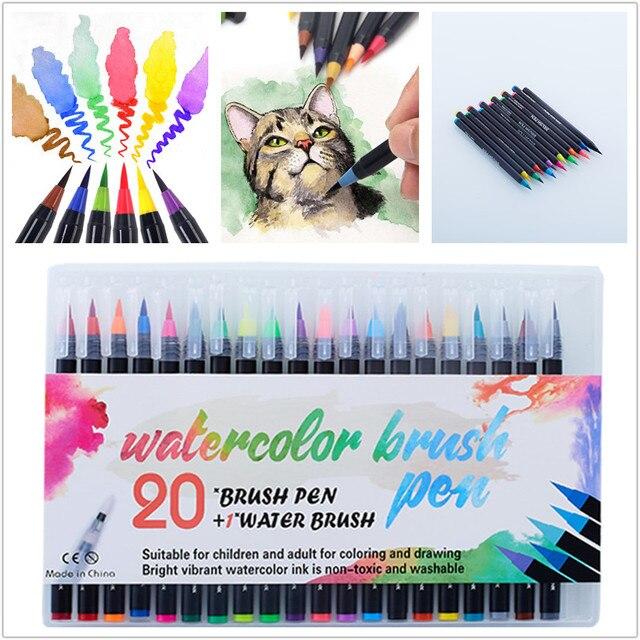 Акварельные ручки 20 цветов, художественные маркеры для школьных принадлежностей, канцелярские принадлежности для рисования, раскрашивания, манги, комиксов, каллиграфии