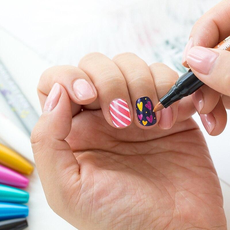 Monami 8 Colors Nail Art Pen 1.7mm DIY Marker Nail Graffiti Pen Manicure Marker Bright Oil Makeups