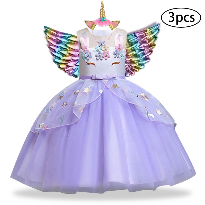 He38f4c59fc9f4f28bcf7328ae0bd712dK New Girls Dress 3Pcs Kids Dresses For Girl Unicorn Party Dress Christmas Carnival Costume Child Princess Dress 3 5 6 8 9 10 Year