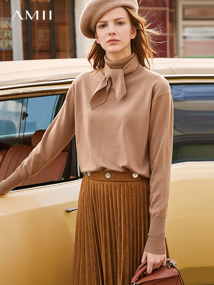 Amii Winter Women Retro Skirt Female Elegant Loose Patchwork Pleated Belt Mid Length Skirt 11930337