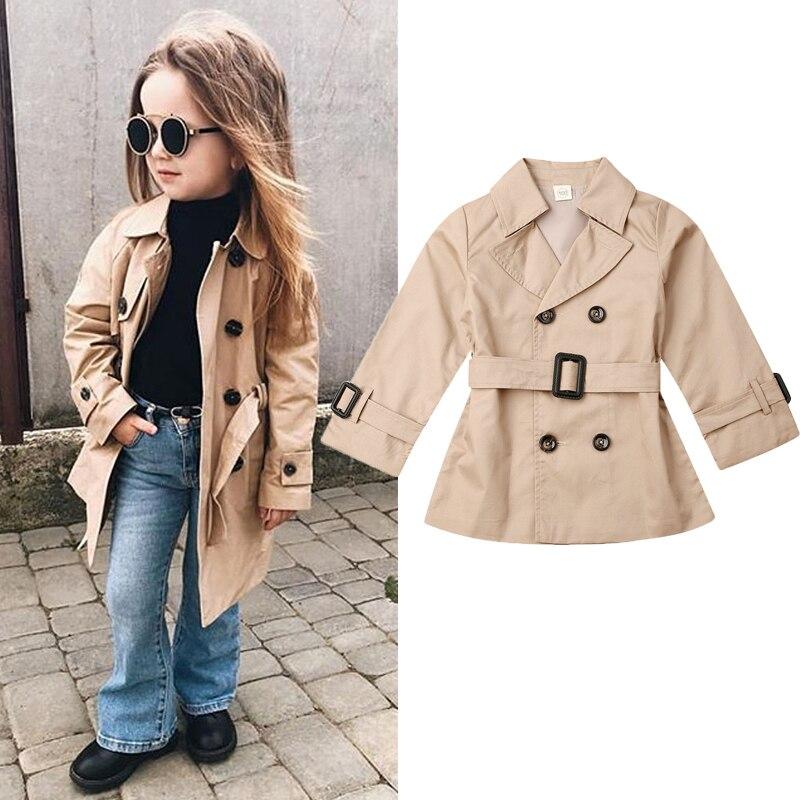 2-7Y Autumn Fashion Kids Girls Lapel Trench Long Sleeve Khaki Jacket Lined Trench Coat Outwear Belt
