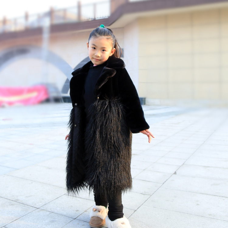 PPXX Winter Baby Girl Fur Coat Woolen Jacket Wool Children Faux Rabbit Fur Coats Warm Thick Kids Winter Outwear Plus Size