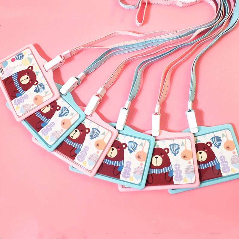Student Card Set Bus Rice Card Lost Residential Gate Simple Metro Card Card Set Silica Soft Girl Neckband Hanging Rope   - title=