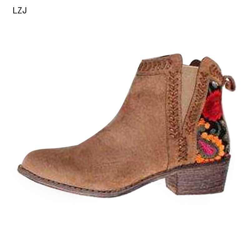 LZJ 2019 Baskı yarım çizmeler Kadın Sonbahar Kış Kadın Kadınlar Üzerinde Kayma Rahat yarım çizmeler platform ayakkabılar Kadın Flats Artı Boyutu 43