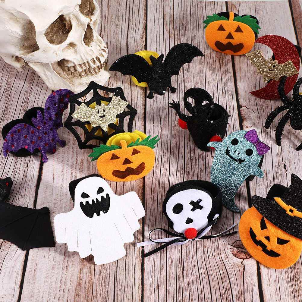 12 Chiếc Halloween Vòng Tay Tát Trẻ Em 21*2.5 Cm Mới Lạ Tát Vòng Tay Quấn Dây Bí Ngô Ma Bát Nhện Tát ban Nhạc Đồ Chơi