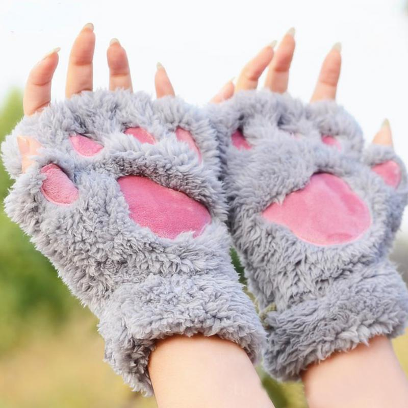 Kawaii Cute Fluffy Bear/Cat Plush Paw/Claw Glove-Novelty Halloween Soft Toweling Ladies Half Covered Gloves Mittens