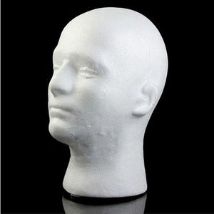Faroot New Men Styrofoam white Styrofoam foam head model Stand Wig hair hat headset mannequin screen shelf