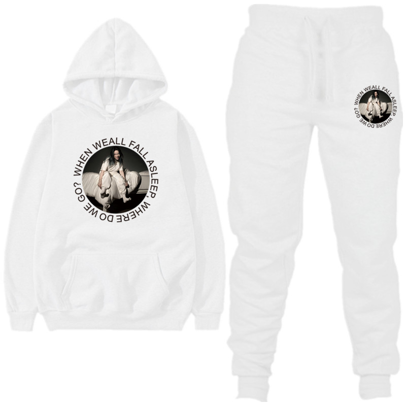 New Fashion Billie Eilish Men Long Sleeve  Hoodies + Pants  Male Tracksuit Outdoor Suit Men Women Set Casual Sportswear Suit