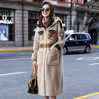 Abrigo de invierno para mujer, abrigo de piel de oveja, piel Real para mujer, ropa 2019, Chaqueta larga coreana, cazadora, Manteau Femme F8160 YY1023