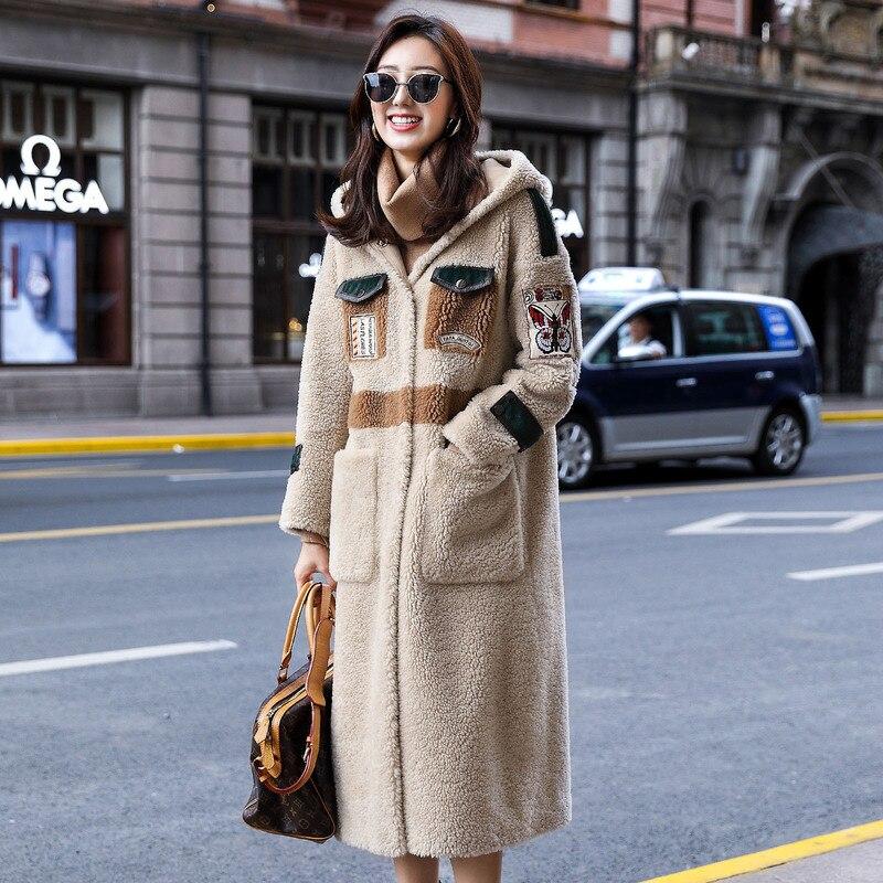 Mulheres Casaco de inverno Ovelhas Shearling Casaco De Pele Verdadeira Mulheres Roupas 2019 Jaqueta Longa Coreano Blusão Manteau Femme F8160 YY1023