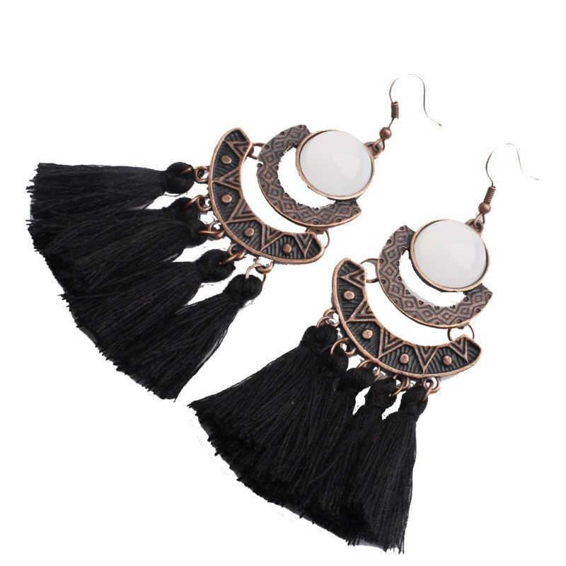 Nouveau ethnique bohème balancent gland boucles d'oreilles pour les femmes ronde résine coton coloré été Style capteur de rêves boucles d'oreilles bijoux