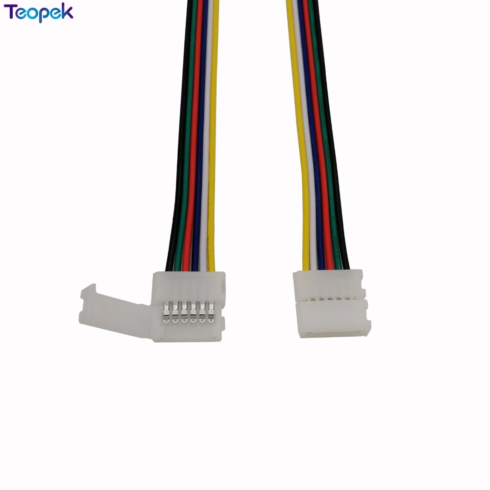 10pcs 6 <font><b>pin</b></font> 12mm Width RGB CCT <font><b>LED</b></font> <font><b>Connector</b></font> Solderless 1 Clip Or <font><b>2</b></font> Clip Easy <font><b>Connector</b></font> Adapter For 6pin RGB+CCT <font><b>LED</b></font> <font><b>Strip</b></font> image